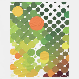 Large Fleece Blanket, modern, abstract, green dots