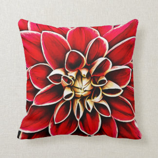 Large Flower Dahlia Floral Decorative Petal Red Throw Pillow