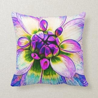 Large Flower Floral Decorative Petal Purple White Throw Pillow
