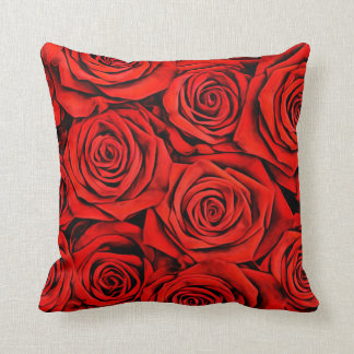 Large Flower Floral Decorative Petal Red Roses Throw Pillow