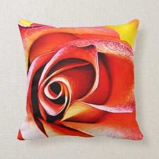 Large Flower Floral Decorative Petal Yellow Orange Throw Pillow