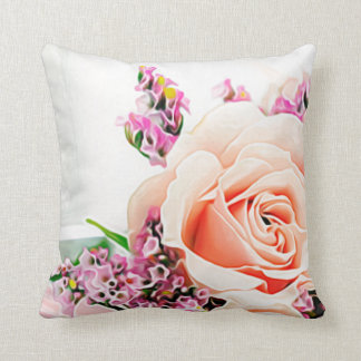 Large Flower Floral Petal Purple White Pink Roses Throw Pillow