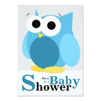 Large Funny Blue Owl Baby Shower Invitations