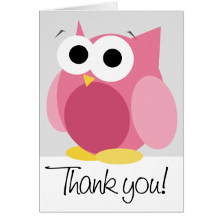 "Large Funny Pink Owl ""Thank you"" Note Card"