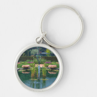 Large Garden Fountain Silver-Colored Round Keychain