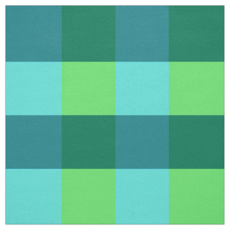 Large Gingham Plaid, aqua, teal, and lime green Fabric