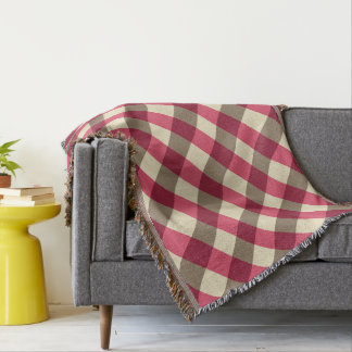 Large Gingham Plaid, burgundy, cream and taupe Throw Blanket