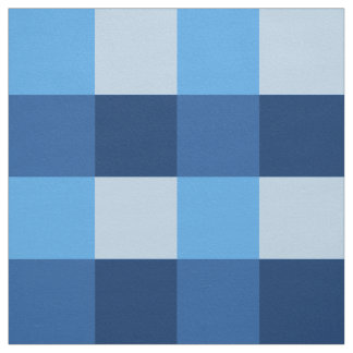 Large Gingham Plaid, shades of denim blue Fabric
