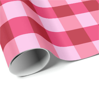 Large Gingham Plaid, strawberry pink and red Wrapping Paper