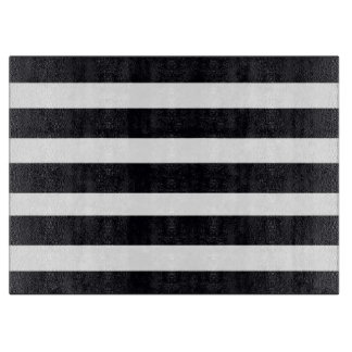 Large GLASS Cutting Boards Black White Stripes