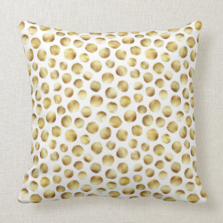 Large Gold Watercolor Polka Dot Pattern Throw Pillow
