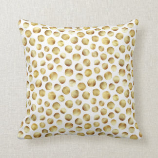 Large Gold Watercolor Polka Dot Pattern Throw Pillow