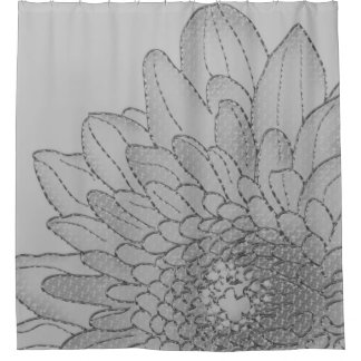 Large Graphic Grey Sunflower   Shower Curtain