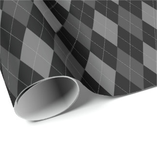 Large Gray and Black Argyle Wrapping Paper