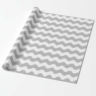 Large Gray and White Waves Wrapping Paper