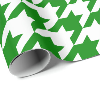 Large Green and White Houndstooth