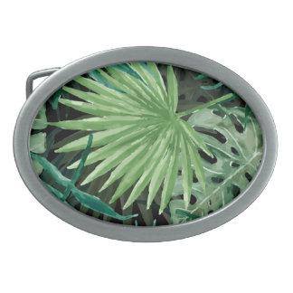 Large Green Fern Palm and Monstera Tropical Plants Belt Buckle