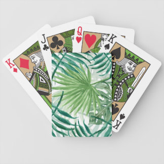 Large Green Fern Palm and Monstera Tropical Plants Bicycle Playing Cards