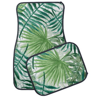 Large Green Fern Palm and Monstera Tropical Plants Car Mat