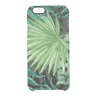 Large Green Fern Palm and Monstera Tropical Plants Clear iPhone 6/6S Case