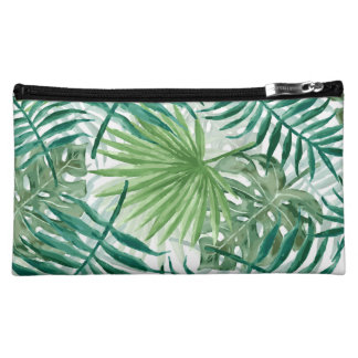 Large Green Fern Palm and Monstera Tropical Plants Cosmetic Bag