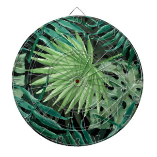 Large Green Fern Palm and Monstera Tropical Plants Dartboard
