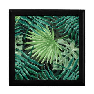 Large Green Fern Palm and Monstera Tropical Plants Gift Box