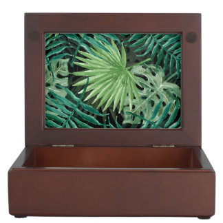 Large Green Fern Palm and Monstera Tropical Plants Keepsake Box