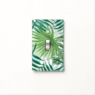 Large Green Fern Palm and Monstera Tropical Plants Light Switch Cover