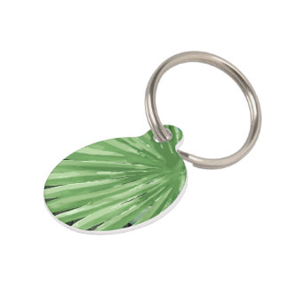 Large Green Fern Palm and Monstera Tropical Plants Pet Tag