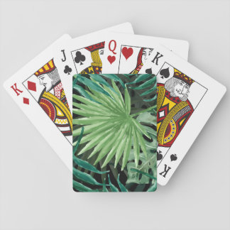 Large Green Fern Palm and Monstera Tropical Plants Playing Cards