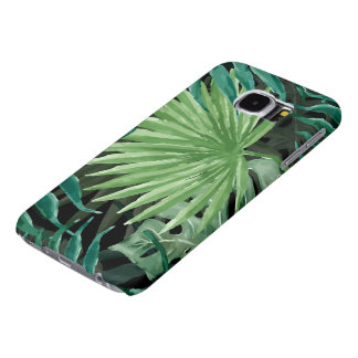 Large Green Fern Palm and Monstera Tropical Plants Samsung Galaxy S6 Case