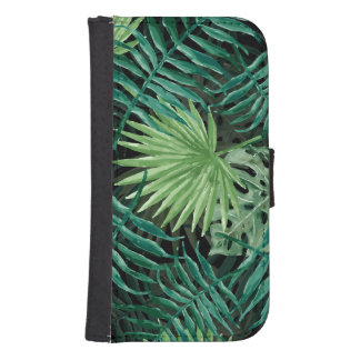 Large Green Fern Palm and Monstera Tropical Plants Samsung S4 Wallet Case