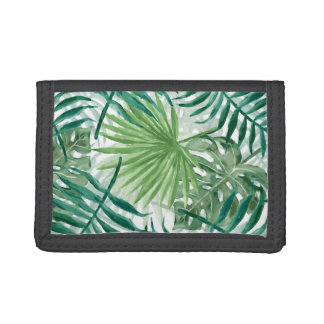 Large Green Fern Palm and Monstera Tropical Plants Trifold Wallet