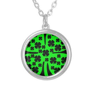 Large Green Four leaf clover black clovers Round Pendant Necklace