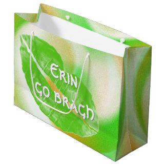 "Large Green Irish Lips ""Erin go bragh"" Quote Large Gift Bag"