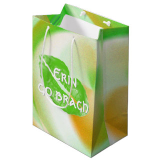 "Large Green Irish Lips ""Erin go bragh"" Quote Medium Gift Bag"