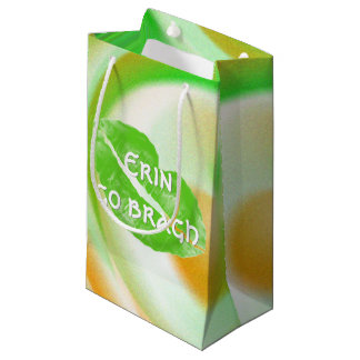 "Large Green Irish Lips ""Erin go bragh"" Quote Small Gift Bag"