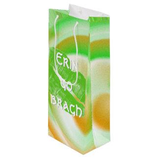 "Large Green Irish Lips ""Erin go bragh"" Quote Wine Gift Bag"