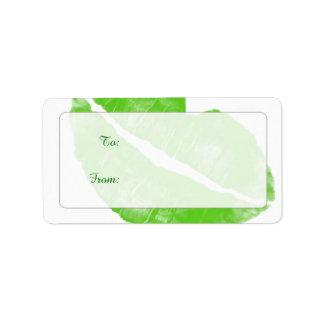 Large Green Irish Lipstick Blot on Transparent BG Label