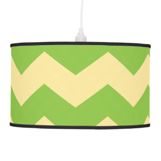 Large Green & Tan Chevron Pattern Hanging Lamp