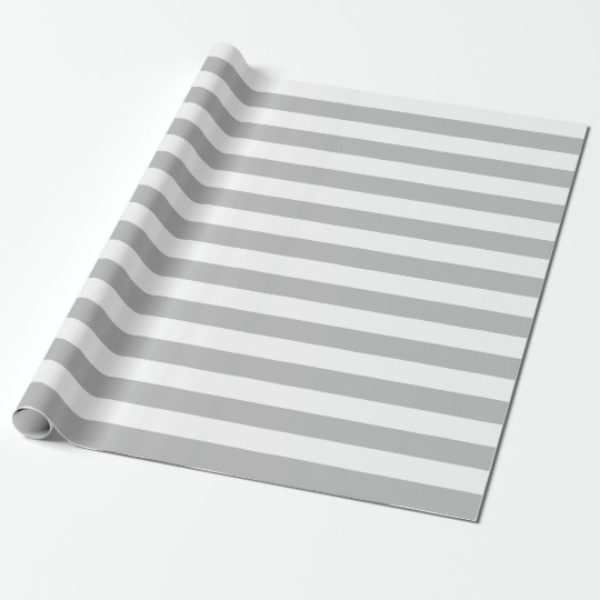 Large Grey and White Stripes Wrapping Paper