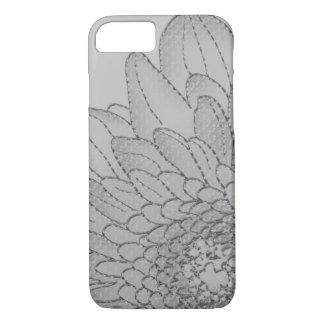 Large Grey Sunflower   Graphic Flower Design iPhone 7 Case