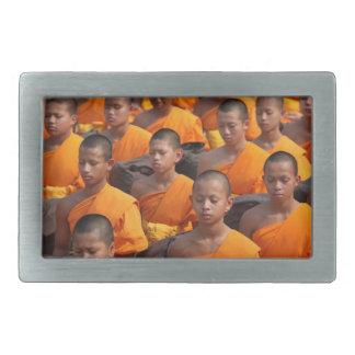 Large Group of Meditating Monks Belt Buckle