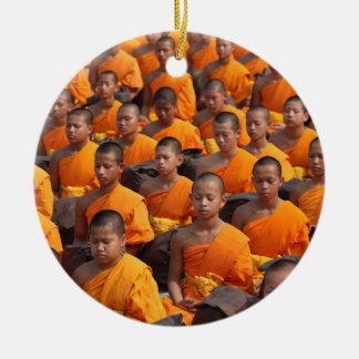 Large Group of Meditating Monks Ceramic Ornament