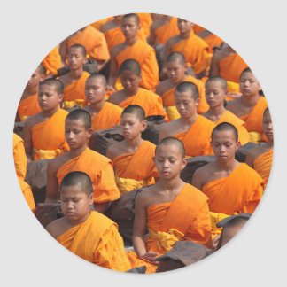 Large Group of Meditating Monks Classic Round Sticker