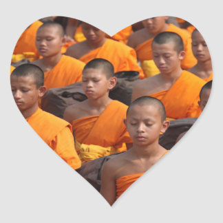 Large Group of Meditating Monks Heart Sticker