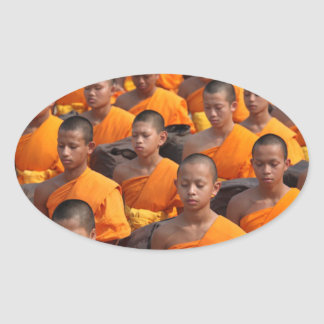 Large Group of Meditating Monks Oval Sticker