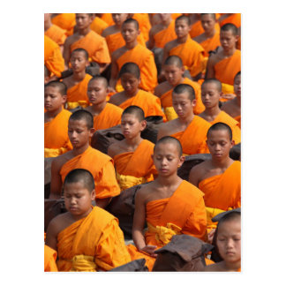 Large Group of Meditating Monks Postcard