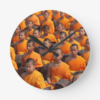 Large Group of Meditating Monks Round Clock